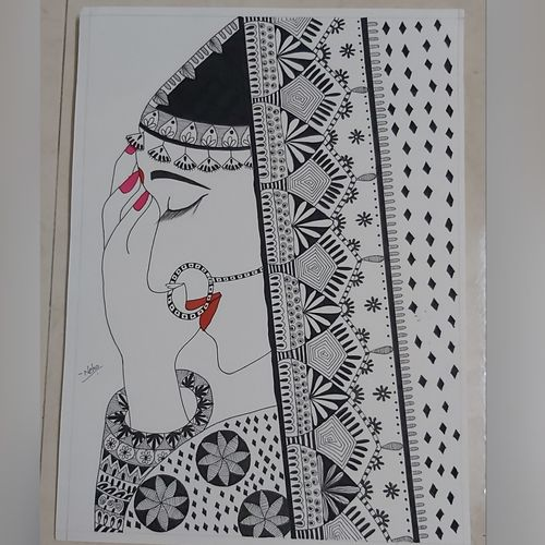 the coy bride, 15 x 11 inch, neha kulkarni,15x11inch,drawing paper,drawings,abstract drawings,fine art drawings,folk drawings,illustration drawings,radha krishna drawings,paintings for living room,paintings for bedroom,paintings for hotel,pen color,ball point pen,paper,GAL02734438874