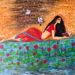 indian woman reading book by pondside, 29 x 25 inch, bhuvana j,29x25inch,hardboard,paintings,figurative paintings,nature paintings   scenery paintings,paintings for dining room,paintings for living room,paintings for bedroom,paintings for office,paintings for bathroom,paintings for hotel,paintings for kitchen,paintings for hospital,acrylic color,GAL02616438883
