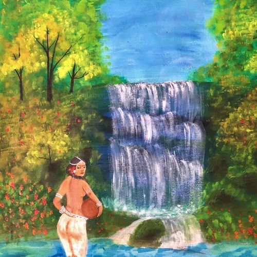 indian lady with pot near waterfalls, 28 x 27 inch, bhuvana j,28x27inch,canvas,paintings,figurative paintings,landscape paintings,portrait paintings,nature paintings | scenery paintings,paintings for dining room,paintings for living room,paintings for bedroom,paintings for office,paintings for bathroom,paintings for kids room,paintings for hotel,paintings for hospital,acrylic color,GAL02616438884