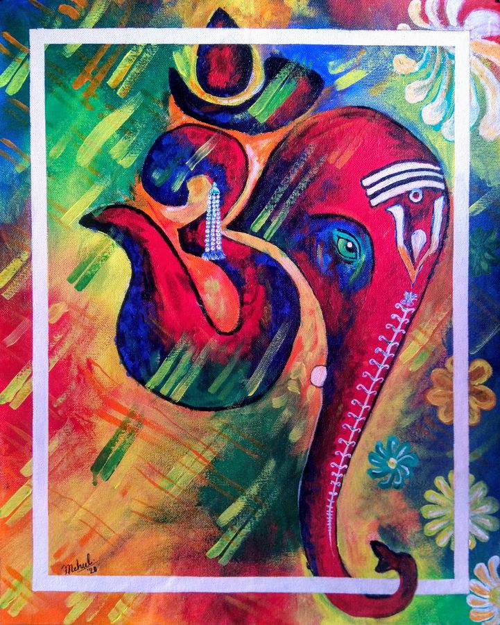 om ganesha, 16 x 19 inch, mehul boricha,16x19inch,canvas,paintings,religious paintings,ganesha paintings | lord ganesh paintings,paintings for dining room,paintings for living room,paintings for bedroom,paintings for office,acrylic color,GAL02737738885