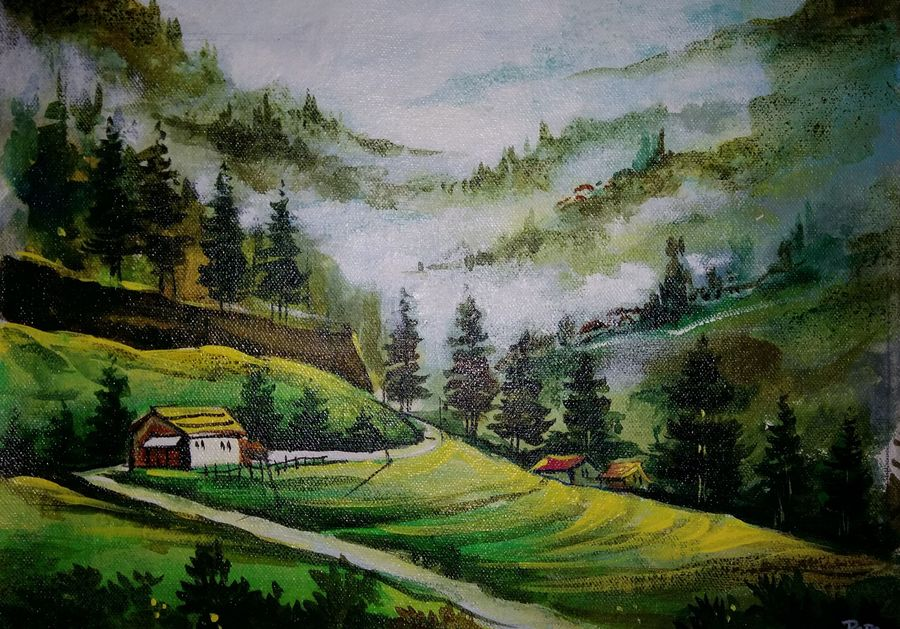 a live nature, 10 x 13 inch, popo singh,paintings for dining room,nature paintings,canvas,watercolor,10x13inch,GAL013293889Nature,environment,Beauty,scenery,greenery,trees,house,beautiful