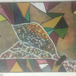 butterfly of dots, 12 x 16 inch, apeksha singh,12x16inch,canvas,paintings,abstract paintings,modern art paintings,oil color,GAL0996338890