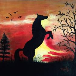 sunset, 19 x 12 inch, mehul boricha,19x12inch,thick paper,paintings,wildlife paintings,figurative paintings,horse paintings,paintings for dining room,paintings for living room,paintings for bedroom,paintings for kids room,paintings for hotel,oil color,GAL02737738893