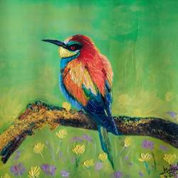 colourful bird, 19 x 12 inch, mehul boricha,19x12inch,thick paper,paintings,wildlife paintings,photorealism,realistic paintings,paintings for dining room,paintings for living room,paintings for bedroom,paintings for office,paintings for kids room,paintings for hotel,paintings for school,oil color,GAL02737738894