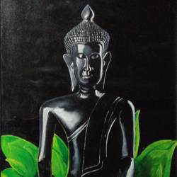 statue of buddha , 22 x 34 inch, mehul boricha,22x34inch,canvas,paintings,buddha paintings,figurative paintings,realistic paintings,paintings for dining room,paintings for living room,paintings for bedroom,paintings for office,paintings for bathroom,paintings for kids room,paintings for hotel,paintings for kitchen,paintings for school,paintings for hospital,oil color,GAL02737738896