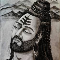 lord shiva, 8 x 10 inch, sandeep rana,8x10inch,paper,drawings,fine art drawings,portrait drawings,paintings for dining room,paintings for living room,paintings for office,paintings for hotel,paintings for school,paintings for hospital,charcoal,paper,GAL02739738897