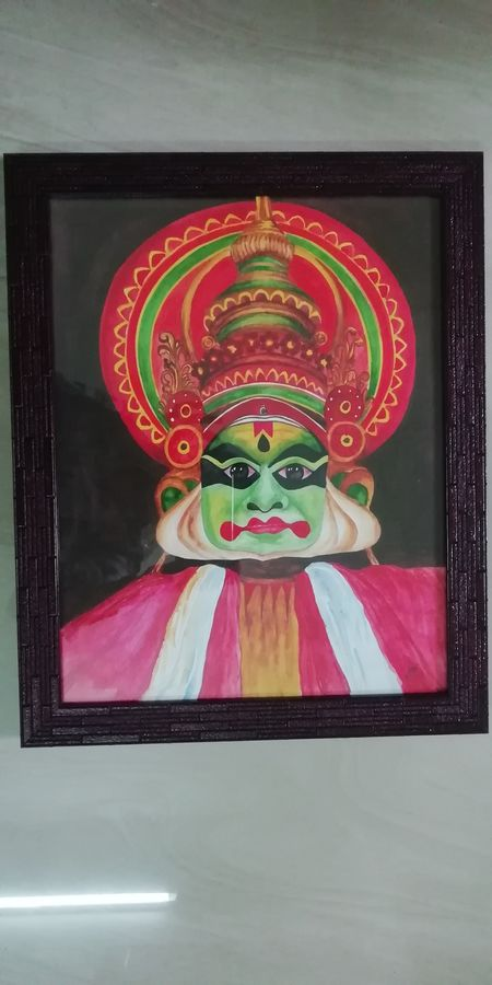 kathakali the traditional artfrom of kerala, 13 x 16 inch, sreelakshmi s,13x16inch,ivory sheet,paintings,folk art paintings,watercolor,GAL02518238898