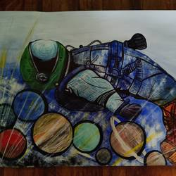 oceanaut, 16 x 12 inch, sreelakshmi s,16x12inch,ivory sheet,paintings,conceptual paintings,acrylic color,GAL02518238902