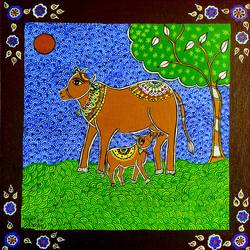 kamdhenu - the holy cow, 12 x 12 inch, madhavi jha,12x12inch,canvas,paintings,wildlife paintings,folk art paintings,religious paintings,nature paintings | scenery paintings,animal paintings,madhubani paintings | madhubani art,paintings for dining room,paintings for living room,paintings for bedroom,paintings for office,paintings for kids room,paintings for hotel,paintings for kitchen,paintings for school,paintings for hospital,acrylic color,GAL02713238904