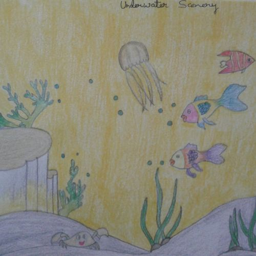 underwater scenery, 12 x 16 inch, neha saini,12x16inch,drawing paper,paintings for dining room,paintings for living room,paintings for office,paintings for kids room,photorealism drawings,paintings for dining room,paintings for living room,paintings for office,paintings for kids room,pencil color,GAL02682538910