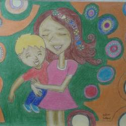 mother's love for her child, 8 x 12 inch, neha saini,8x12inch,drawing paper,drawings,abstract drawings,paintings for living room,paintings for bedroom,paintings for kids room,paintings for school,paintings for hospital,pencil color,GAL02682538913