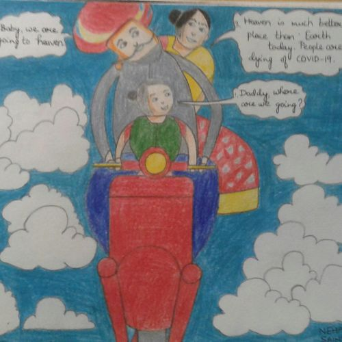 the family's ride to heaven in times of corona, 8 x 12 inch, neha saini,8x12inch,drawing paper,paintings for living room,paintings for kids room,paintings for school,photorealism drawings,paintings for living room,paintings for kids room,paintings for school,pencil color,GAL02682538914