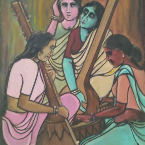 indian classical music, 20 x 30 inch, usha singh,20x30inch,canvas board,paintings,figurative paintings,folk art paintings,paintings for dining room,paintings for living room,paintings for bedroom,paintings for office,paintings for bathroom,paintings for hotel,paintings for kitchen,paintings for school,oil color,GAL02744538918