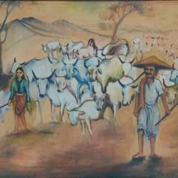 open fields, 30 x 20 inch, usha singh,30x20inch,hardboard,paintings,landscape paintings,nature paintings   scenery paintings,animal paintings,paintings for dining room,paintings for living room,paintings for bedroom,paintings for office,paintings for bathroom,paintings for hotel,paintings for kitchen,paintings for school,paintings for hospital,oil color,GAL02744538920