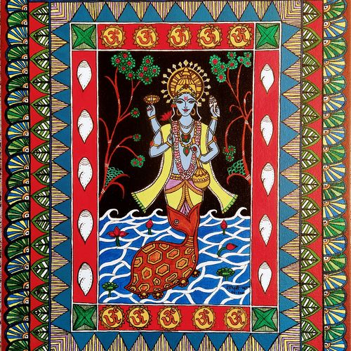 lord vishnu - his kurma (tortoise) avatar , 14 x 18 inch, madhavi jha,14x18inch,canvas board,paintings,folk art paintings,religious paintings,madhubani paintings | madhubani art,paintings for dining room,paintings for living room,paintings for bedroom,paintings for office,paintings for kids room,paintings for hotel,paintings for kitchen,paintings for school,paintings for hospital,acrylic color,GAL02713238922