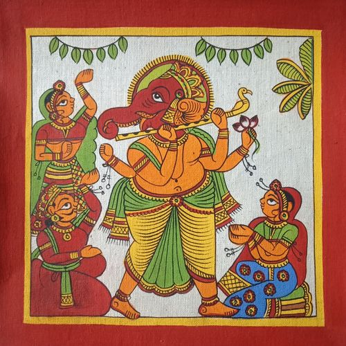 ganesha , 8 x 8 inch, abhishek joshi,8x8inch,cloth,paintings,folk art paintings,ganesha paintings | lord ganesh paintings,phad painting,miniature painting.,paintings for dining room,paintings for living room,paintings for office,paintings for hotel,paintings for school,natural color,GAL01642538929