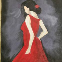 a lonely lady, 17 x 12 inch, popo singh,paintings for bedroom,figurative paintings,canvas,watercolor,17x12inch,GAL013293893