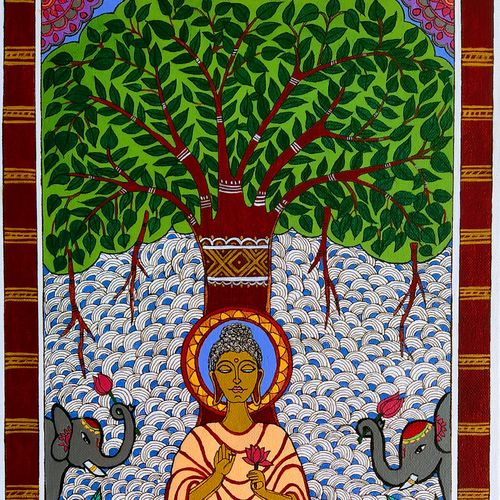 gautama buddha under bodhi fig tree, 12 x 24 inch, madhavi jha,12x24inch,canvas board,paintings,buddha paintings,religious paintings,madhubani paintings | madhubani art,paintings for dining room,paintings for living room,paintings for bedroom,paintings for office,paintings for kids room,paintings for hotel,paintings for kitchen,paintings for school,paintings for hospital,acrylic color,pen color,GAL02713238930