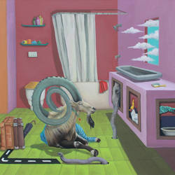 this is my studio, 24 x 30 inch, ankur singla,24x30inch,canvas,paintings,modern art paintings,surrealism paintings,animal paintings,realistic paintings,paintings for dining room,paintings for living room,paintings for bedroom,paintings for office,paintings for kids room,paintings for hotel,acrylic color,GAL0189038934