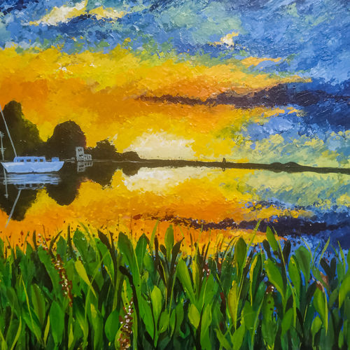 autumn sunset, 20 x 16 inch, tamorika mohapatra,20x16inch,canvas board,paintings,abstract paintings,nature paintings | scenery paintings,impressionist paintings,paintings for dining room,paintings for living room,paintings for office,paintings for hotel,paintings for school,acrylic color,GAL02596738939