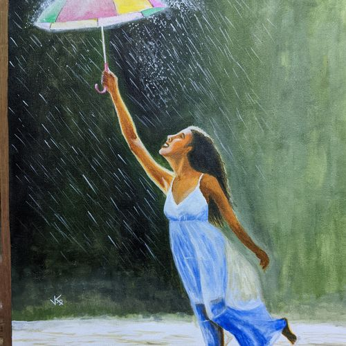 a wet evening , 18 x 24 inch, vimal dhale,18x24inch,canvas,paintings,figurative paintings,art deco paintings,portraiture,realistic paintings,paintings for dining room,paintings for living room,paintings for bedroom,paintings for office,paintings for kids room,paintings for hotel,paintings for kitchen,paintings for school,paintings for hospital,acrylic color,GAL02624838940