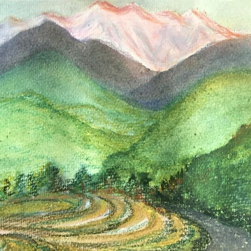 the mighty kanchenjunga , 12 x 8 inch, art blues studio,12x8inch,handmade paper,paintings,landscape paintings,nature paintings | scenery paintings,paintings for dining room,paintings for living room,paintings for bedroom,paintings for office,paintings for hotel,pastel color,watercolor,GAL02669438942