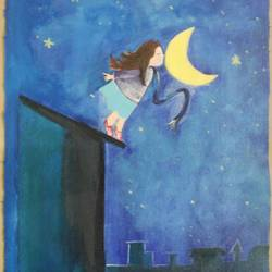 a high aspired moon touching girl, 12 x 17 inch, popo singh,paintings for dining room,kids paintings,canvas,watercolor,12x17inch,GAL013293895