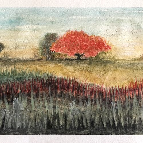autumn landscape, 10 x 7 inch, art blues studio,10x7inch,handmade paper,paintings,landscape paintings,modern art paintings,nature paintings | scenery paintings,paintings for dining room,paintings for living room,paintings for bedroom,paintings for office,paintings for hotel,watercolor,GAL02669438950