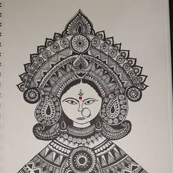 mandala art devi, 8 x 12 inch, amruta kulkarni,8x12inch,brustro watercolor paper,drawings,conceptual drawings,paintings for dining room,paintings for living room,paintings for bedroom,paintings for office,acrylic color,pencil color,paper,GAL02747738959
