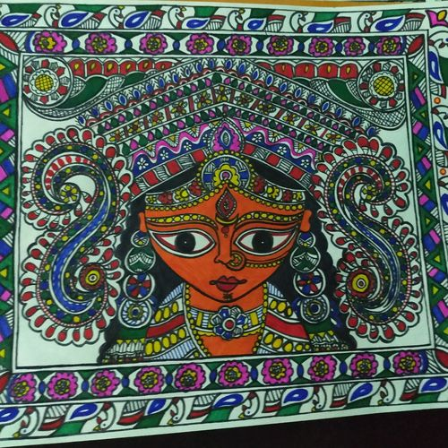 jai ma durga, 8 x 11 inch, rayana saha,8x11inch,drawing paper,paintings,madhubani paintings | madhubani art,paintings for living room,paintings for office,paintings for hotel,pen color,paper,GAL01304638964