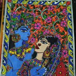immortal love, 10 x 12 inch, rayana saha,10x12inch,drawing paper,radha krishna paintings,madhubani paintings | madhubani art,paintings for living room,paintings for office,paintings for school,paintings for hospital,paintings for living room,paintings for office,paintings for school,paintings for hospital,mixed media,GAL01304638968