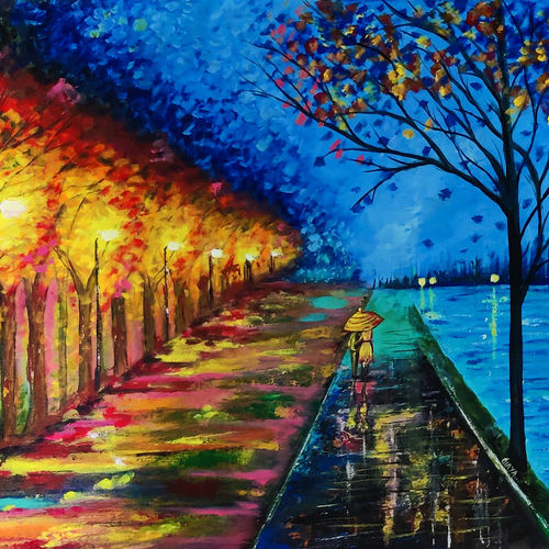 lovelt night (replication alfremov painting), 24 x 30 inch, gayathiri palanisamy,24x30inch,canvas,paintings,abstract paintings,cityscape paintings,landscape paintings,nature paintings | scenery paintings,abstract expressionism paintings,illustration paintings,photorealism,paintings for dining room,paintings for living room,paintings for bedroom,paintings for office,paintings for hotel,paintings for kitchen,paintings for school,paintings for hospital,acrylic color,mixed media,GAL02686138973