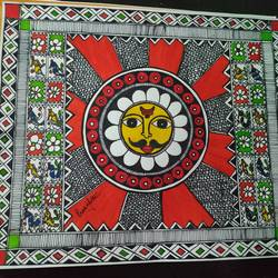 surya devta, 12 x 10 inch, rayana saha,12x10inch,drawing paper,paintings,folk art paintings,madhubani paintings | madhubani art,paintings for dining room,paintings for living room,paintings for kids room,mixed media,GAL01304638979