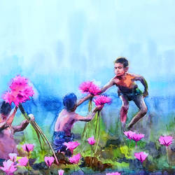 at lily harvest, 18 x 18 inch, jeyaprakash m,18x18inch,canson paper,paintings,figurative paintings,flower paintings,impressionist paintings,realism paintings,realistic paintings,paintings for living room,paintings for bedroom,paintings for office,paintings for kids room,paintings for hotel,paintings for school,paintings for hospital,watercolor,GAL0110238980