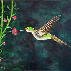 yellow wings hummingbird, 32 x 23 inch, srinu badri,32x23inch,canvas,paintings,flower paintings,nature paintings | scenery paintings,paintings for dining room,paintings for living room,paintings for bedroom,paintings for office,paintings for kids room,paintings for school,acrylic color,GAL01289938981