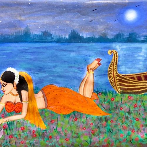 a beautiful lady with rabbits and royal boat, 36 x 18 inch, bhuvana j,36x18inch,canvas,paintings,figurative paintings,landscape paintings,art deco paintings,paintings for dining room,paintings for living room,paintings for bedroom,paintings for office,paintings for bathroom,paintings for kids room,paintings for hotel,paintings for kitchen,paintings for hospital,acrylic color,GAL02616438982