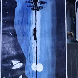 night scene, 20 x 15 inch, arvind kumar gupta,20x15inch,rice paper,landscape paintings,acrylic color,GAL02596638990