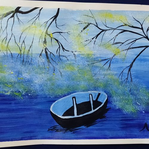 floting boat, 20 x 15 inch, arvind kumar gupta,20x15inch,thick paper,paintings,abstract paintings,photorealism paintings,paintings for dining room,paintings for living room,paintings for office,acrylic color,paper,GAL02596638998