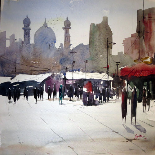 reflections, 21 x 15 inch, sankar thakur,cityscape paintings,paintings for bedroom,paintings for office,fabriano sheet,watercolor,21x15inch,GAL01439