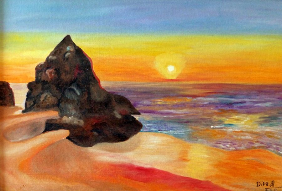 the beautiful sunset, 22 x 16 inch, dipali deshpande,landscape paintings,paintings for living room,paintings,canvas,oil,22x16inch,GAL0163390