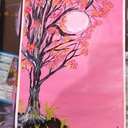 tree with flowers and sun, 15 x 12 inch, arvind kumar gupta,15x12inch,thick paper,abstract paintings,paintings for dining room,paintings for living room,paintings for office,paintings for dining room,paintings for living room,paintings for office,acrylic color,paper,GAL02596639013