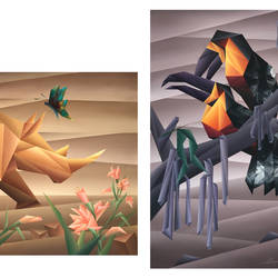 relationships (triptych), 80 x 34 inch, nirakar  chowdhury,80x34inch,canvas,paintings,wildlife paintings,multi piece paintings,nature paintings | scenery paintings,cubism paintings,animal paintings,paintings for living room,paintings for bedroom,paintings for office,paintings for hotel,acrylic color,GAL0203639030