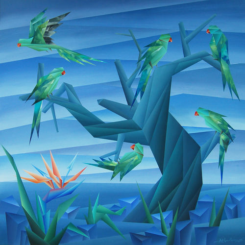 position of life, 36 x 36 inch, nirakar  chowdhury,36x36inch,canvas,paintings,wildlife paintings,nature paintings | scenery paintings,cubism paintings,acrylic color,GAL0203639032