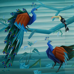 birds paradise (diptych), 96 x 54 inch, nirakar  chowdhury,96x54inch,canvas,paintings,wildlife paintings,cubism paintings,paintings for living room,paintings for bedroom,paintings for office,paintings for hotel,acrylic color,GAL0203639034