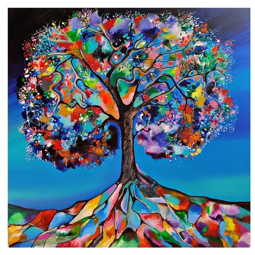 tree of life, 36 x 36 inch, richa pamnani,36x36inch,canvas,paintings,nature paintings | scenery paintings,abstract expressionism paintings,expressionism paintings,impressionist paintings,paintings for dining room,paintings for living room,paintings for bedroom,paintings for office,paintings for bathroom,paintings for kids room,paintings for hotel,paintings for kitchen,paintings for school,paintings for hospital,acrylic color,GAL0606339039