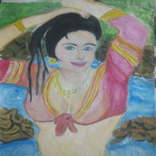 village girl, 17 x 12 inch, suresh yadav,17x12inch,drawing paper,paintings,figurative paintings,portrait paintings,nature paintings | scenery paintings,expressionism paintings,portraiture,paintings for dining room,paintings for living room,paintings for bedroom,paintings for bathroom,watercolor,GAL02620939041
