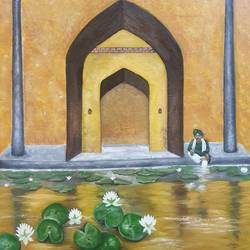 temple by lake , 24 x 24 inch, shikha gupta,24x24inch,canvas,paintings,figurative paintings,cityscape paintings,conceptual paintings,nature paintings   scenery paintings,realistic paintings,love paintings,paintings for dining room,paintings for living room,paintings for bedroom,paintings for office,paintings for hotel,paintings for kitchen,paintings for school,paintings for hospital,oil color,GAL02750339055