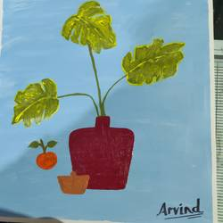 money plant big, 18 x 12 inch, arvind kumar gupta,18x12inch,thick paper,paintings,conceptual paintings,paintings for dining room,paintings for living room,paintings for office,paintings for hotel,paintings for kitchen,paintings for school,paintings for hospital,acrylic color,paper,GAL02596639063