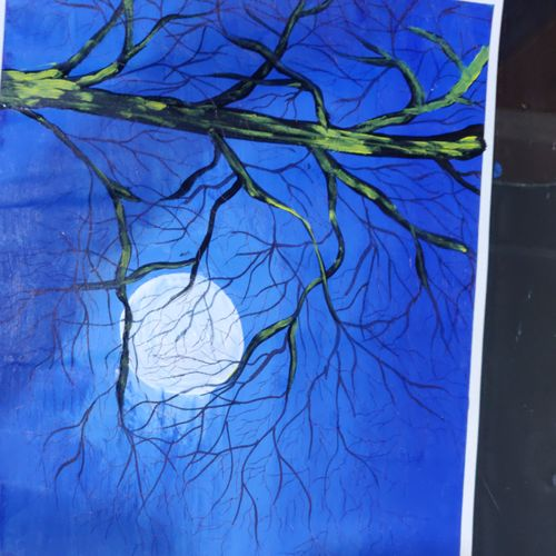 tree wih blue shed, 18 x 12 inch, arvind kumar gupta,18x12inch,thick paper,paintings,abstract paintings,still life paintings,nature paintings | scenery paintings,abstract expressionism paintings,realistic paintings,paintings for dining room,paintings for living room,paintings for office,paintings for bathroom,paintings for hotel,paintings for kitchen,paintings for school,paintings for hospital,acrylic color,paper,GAL02596639088