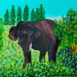 elephant painting, 12 x 10 inch, veena nandavaram,12x10inch,canvas board,paintings,wildlife paintings,landscape paintings,nature paintings   scenery paintings,art deco paintings,animal paintings,elephant paintings,paintings for dining room,paintings for living room,paintings for bedroom,paintings for office,paintings for kids room,paintings for hotel,paintings for kitchen,paintings for school,paintings for hospital,acrylic color,GAL02687039098